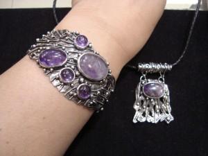 Аметист – комплект гривна и медальон – N125 | Amethyst – bracelet and pendant set – N125