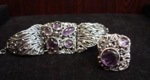 Аметист – комплект гривна и пръстен – N125 | Amethyst – bracelet and ring set – N125