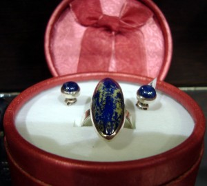 Лазурит – комплект пръстен и обеци – N143 | Lazurite – ring and earrings set – N143