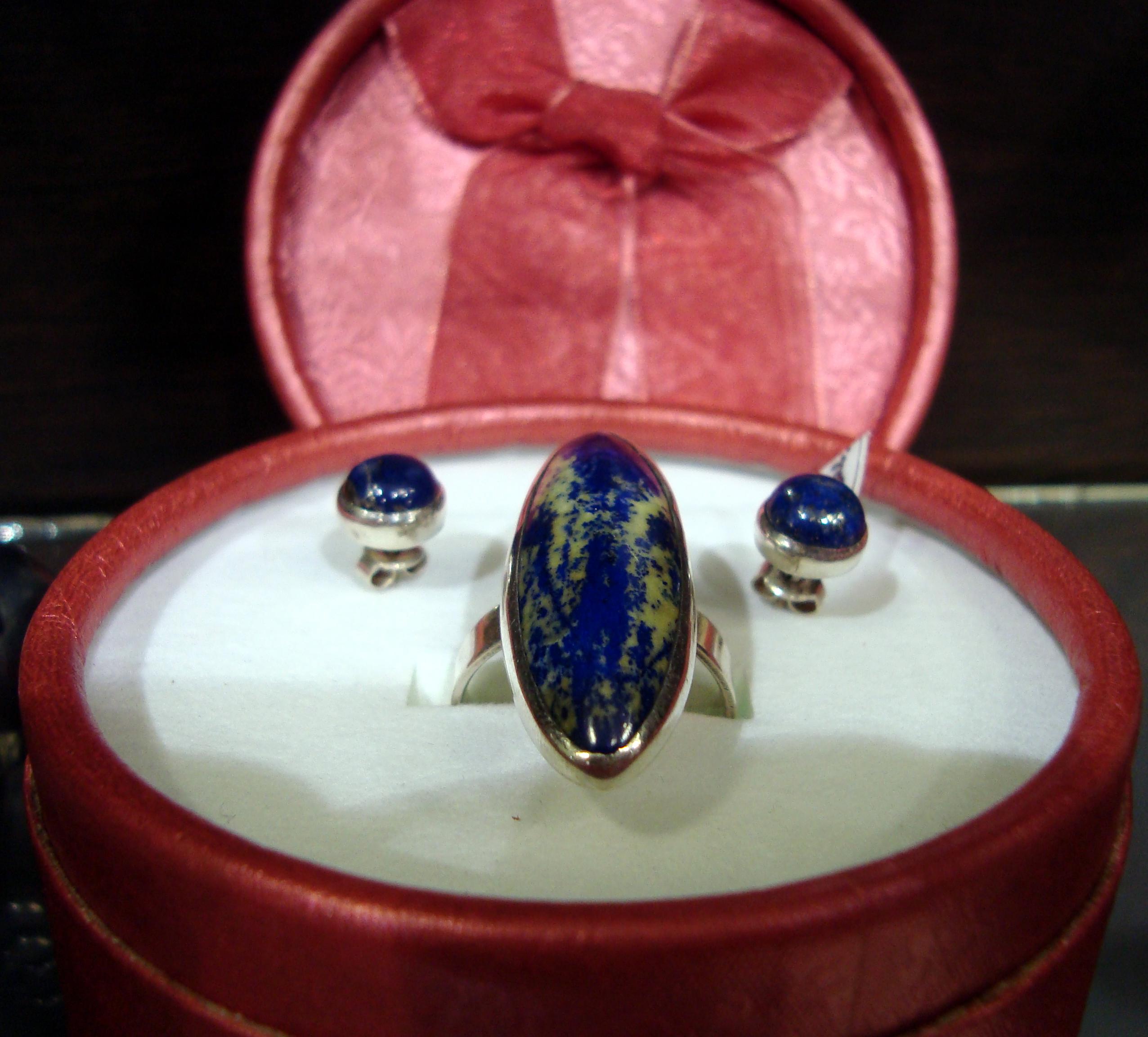 комплект бижута лазурит обеци пръстен