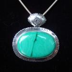 медальон малахит сребро уникат