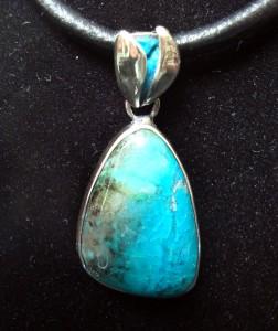 Хризокола Перу – медальон и пръстен – N136 | Chrysocolla Peru – pendant and ring set – N136
