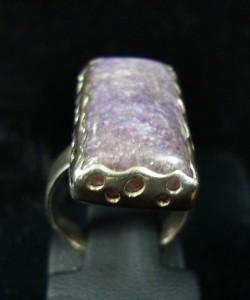 комплект бижута чароит пръстен