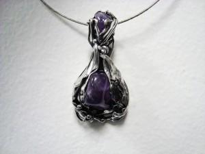 Аметист – медальон с два камъка – N119 | Amethyst – pendant with two gems – N119