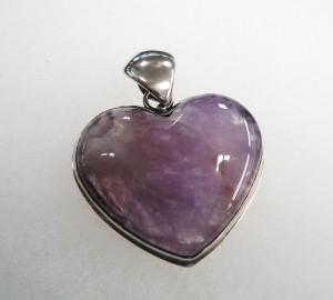 Аметист – медальон сърце – N124 | Amethyst – heart pendant – N124