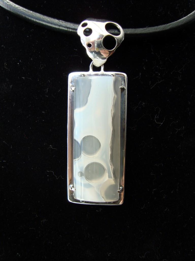 медальон сребро ахат