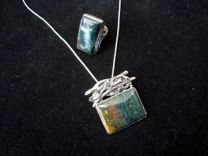 Мъхов Ахат – пръстен и медальон – N193 | Moss Agate – ring and pendant – N193
