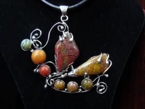 Яспис и Мъхов Ахат – медальон – N162 | Jasper and Moss Agate – pendant – N162
