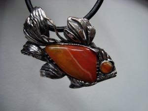 "Ахати – медальон рибка – N200 | Agate – ""fish"" pendant – N200"