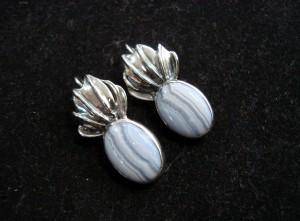 Блу Лейс Ахат – обеци – N303 | Blue Lace Agate – earrings – N303