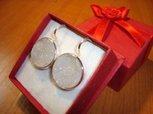 Кварцова друза – обеци – N318 | Drusy Quartz – earrings – N318