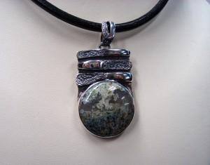 Мъхов Ахат – медальон – N319 | Moss Agate – pendant – N319