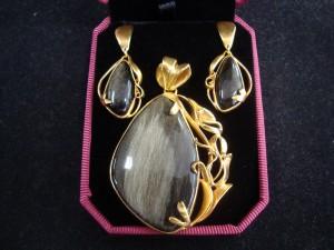 Златист Обсидиан – позлатен комплект – N403 | Golden Obsidian – golden plated set – N403