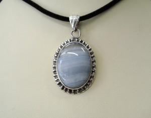 Ахат Блу Лейс – медальон – N439 | Agate Blue Lace