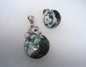 Зелен Мъхов Ахат – комплект – N525 | Green Moss Agate – set – N525