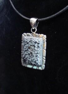 Снежинков Обсидиан Мексико – медальон – N447 | Snowflake Obsidian Mexico – pendant – N447