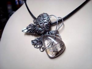 Кварц Турмалин – медальон – N576 | Quartz Tourmaline – pendant – N576