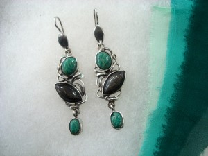 Амазонит Бразилия, Сребрист Обсидиан Мексико – обеци – N603 | Amazonite Brasil, Silver Obsidian Mexico – earrings – N603