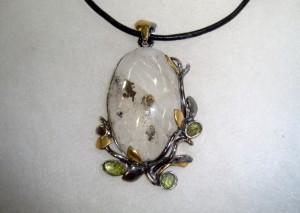 Кварц Пирит – медальон – N651 | Quartz Pyrite – pendant – N651