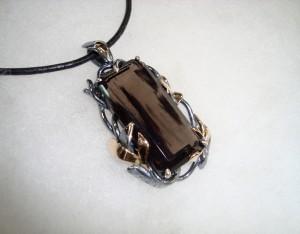 Фасетиран Обсидиан, злато 14к, сребро – медальон – N656 | Faceted Obsidian, gold 14k, silver – pendant – N656