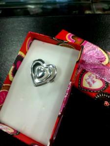 Бижу без камък – пръстен сърца – N689