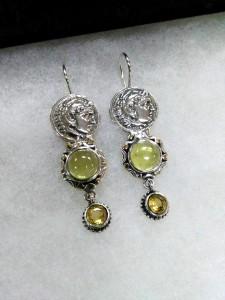 Александър, лимонов кварц, цитрин, сребро, злато – обеци – N750