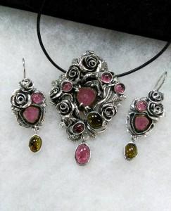 Розови и зелени турмалини (Турмалини-диня) сребро, патина – комплект – N767