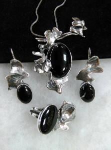 Черен яспис, оникс, сребро, патина – комплект – N766