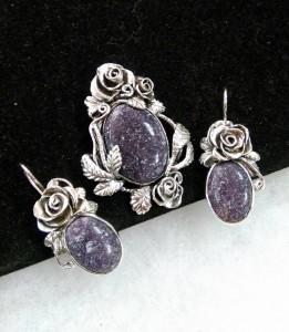 Тъмно лилав лепидолит, сребро с патина – комплект – N765