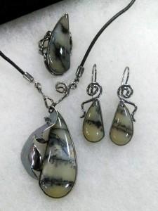 Дендрит Опал Мадагаскар, сребро, патина – комплект – N771