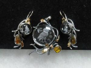 Инталии Планински кристал, злато, сребро, кехлибар – комплект – N774